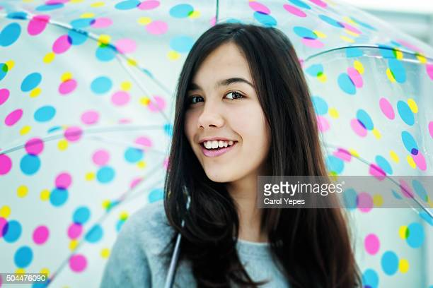 teenage girl with umbrella