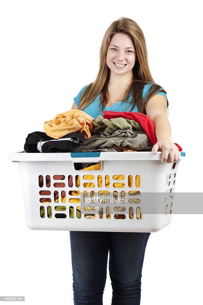 Teenage Girl, Young Woman, Student Holding Laundry Basket, White Background : Stock Photo