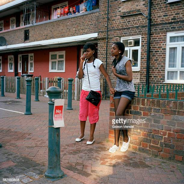 Teenage girls after being soaked in a summer water fight in the Kingsmead Estate in Homerton in the eastern part of Hackney The estate has 980 flats...