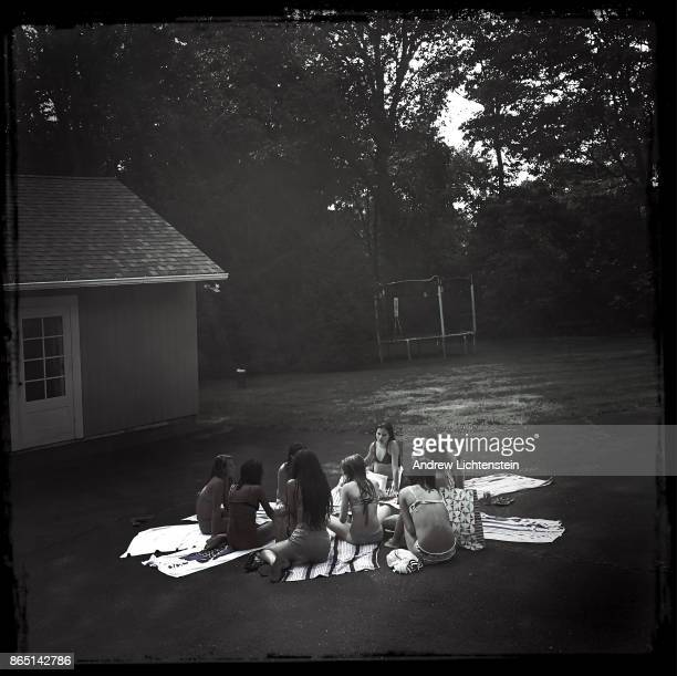 Teenage girls celebrate a thirteenth birthday party on August 5 2017 in New Canaan CT