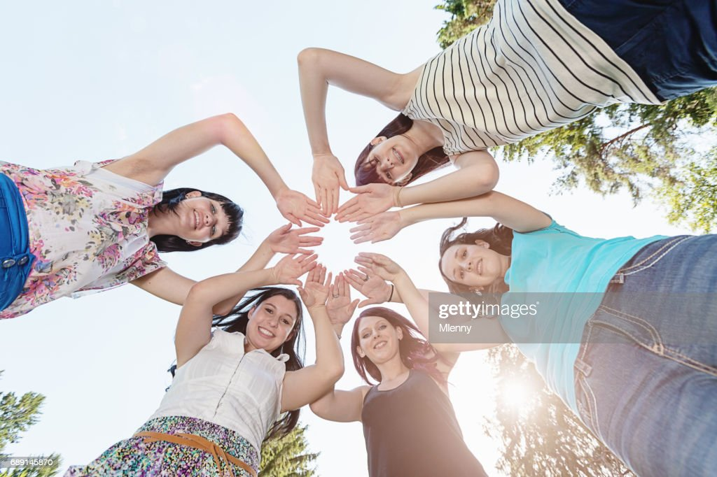 Teenage Girls Circle of Hands : Stock Photo