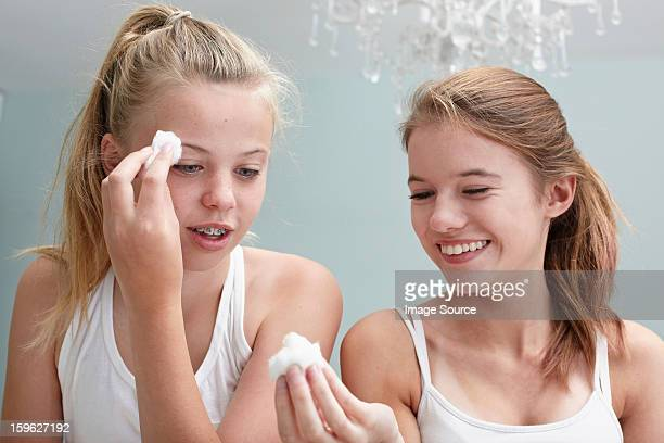 Teenage girls cleansing