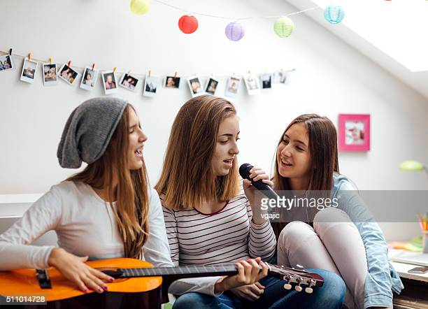 Teenage Girls Has Karaoke Party