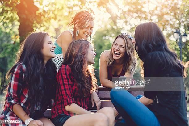 Teenage girls having fun in  the park