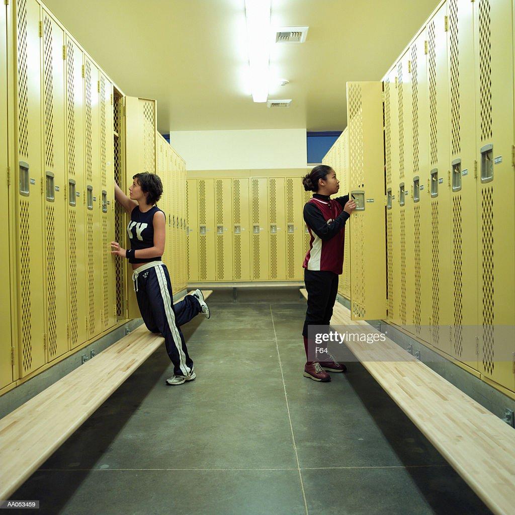Teenage Girls In High School Locker Room Stock Photo   Getty Images