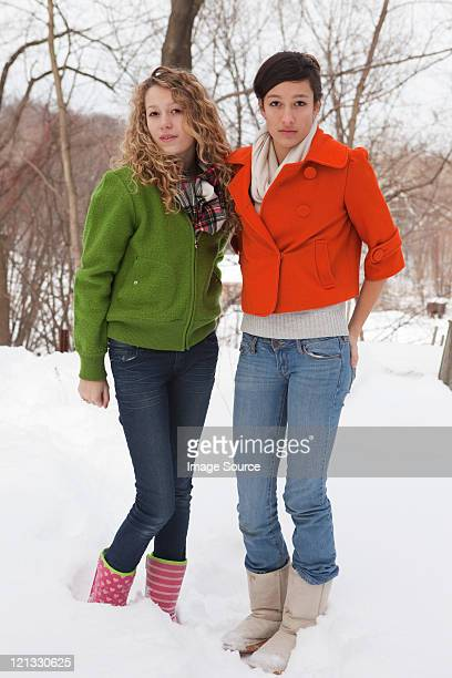 teenage girls in snow, portrait - chatham new york state stock pictures, royalty-free photos & images