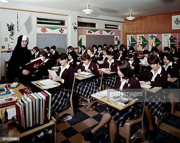 Teenage girls in St. John Villa Academy Catholic School classroom