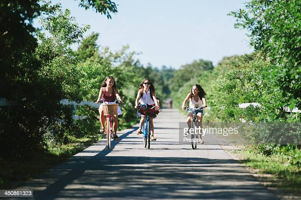Teenage girls on bicycle