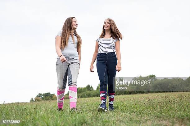 Teenage Girls On Meadow