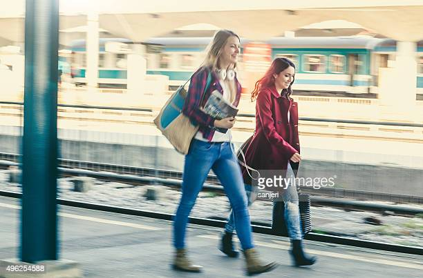 Teenage girls on the railway station