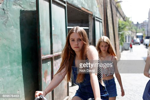 Teenage girls outside on the street