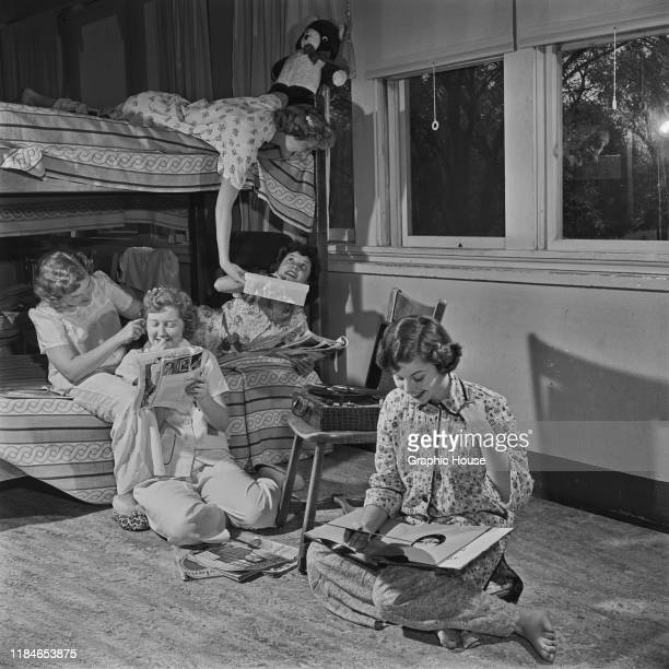 Teenage girls sharing a bedroom at the Mooseheart children's home in Illinois USA circa 1955