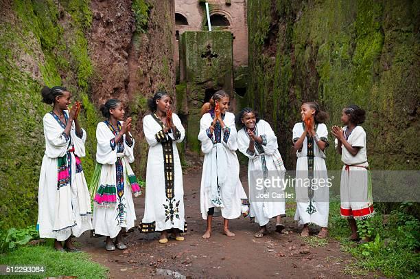 Teenage girls singing in Lalibela, Ethiopia