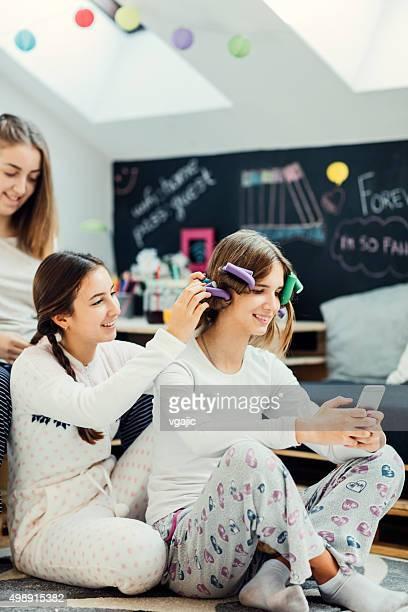 Teenage Girls Sleepover Beauty Treatment.