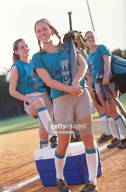 Teenage girls'(15-18) softball team, portrait