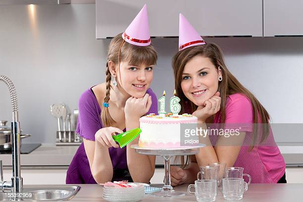 teenage girls with birthday cake