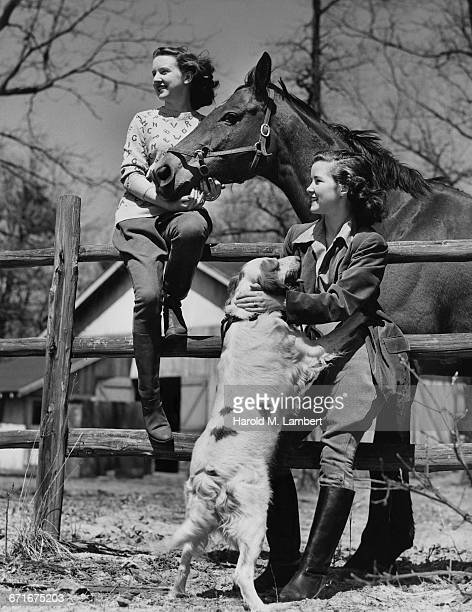 teenage girls with dog and horse  - {{relatedsearchurl(carousel.phrase)}} fotografías e imágenes de stock