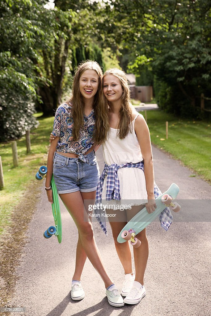 Teenage Girls With Penny Boards Stock Photo