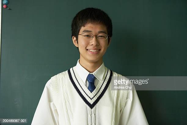 teenage male student (14-16), portrait - 前にいる ストックフォトと画像