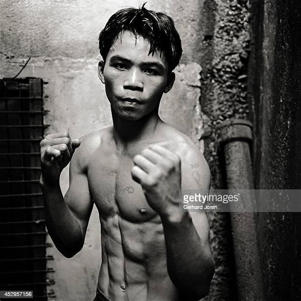 A teenage Manny Pacquiao the Philippino boxer who went on to become a world champion sensation He is seen here at the LM Gym in Manila