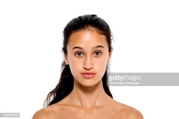 Teenage model beauty portrait fresh skin in studio