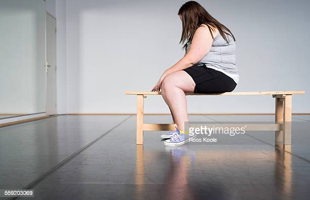 teenage overweight girl in gym - girl in mirror stock photos and pictures
