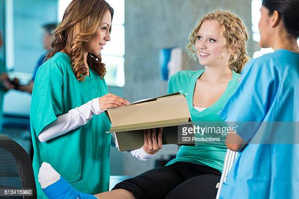 Teenage patient in physical therapy