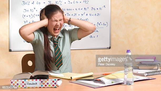 teenage school girl screaming - teenagers only stock pictures, royalty-free photos & images