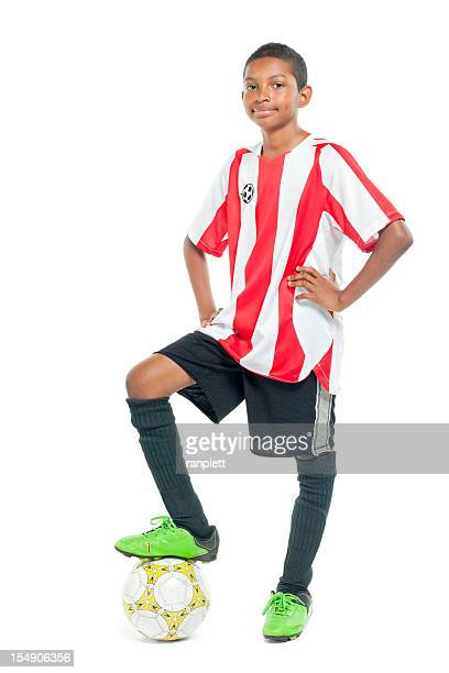 teenage soccer player - isolated - black shorts stock pictures, royalty-free photos & images