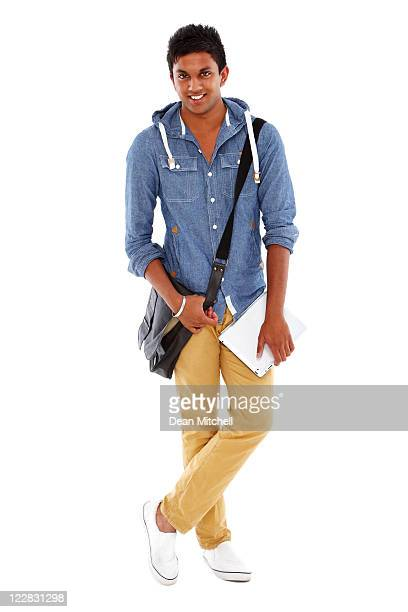 Teenage Student With a Satchel and Laptop - Isolated