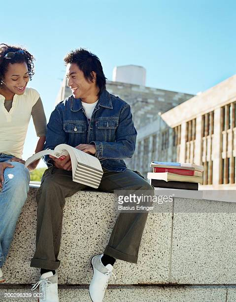 teenage students (16-20) going over textbook, smiling - blasius erlinger stock pictures, royalty-free photos & images