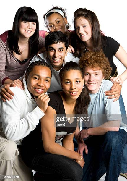 teenage students: school friends posing for a group portrait - class photo stock photos and pictures