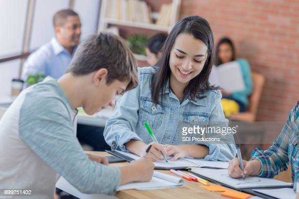 Teenage students study together in student lounge