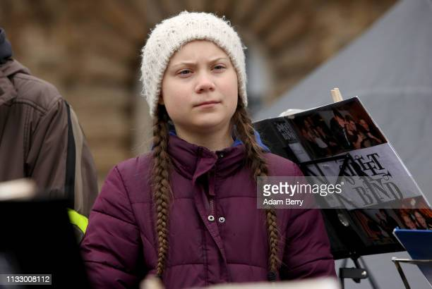 Teenage Swedish activist Greta Thunberg demonstrates with high school students against global warming at a Fridays for Future demonstration on March...