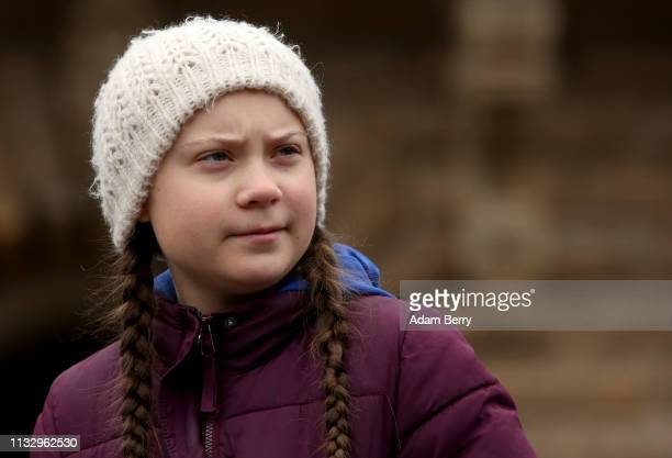 Teenage Swedish activist Greta Thunberg demonstrates with students against global warming at a Fridays for Future demonstration on March 01 2019 in...