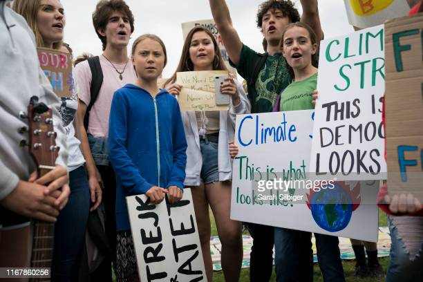 Teenage Swedish climate activist Greta Thunberg joins student environmental advocates during a strike to demand action be taken on climate change...