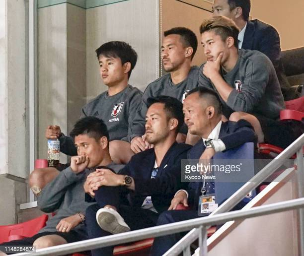 Teenage talent Takefusa Kubo watches Japan's football friendly against Trinidad and Tobago from the stands at Toyota Stadium in Toyota central Japan...