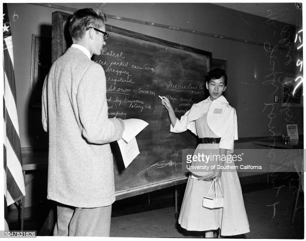 Teenage traffic safety meeting 21 April 1954 Donna Orbach Joseph Konieczny Alice Nichi Caption slip reads 'Photographer Forbes Date Reporter Scott...