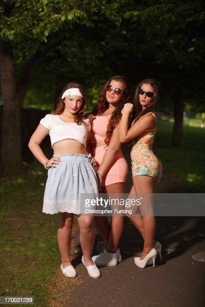 Teenage traveller girls pose during the Appleby Horse Fair on June 6 2013 in Appleby England The Appleby Horse Fair has existed under the protection...