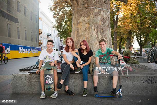 teenage youth culture in odessa, ukraine - odessa ukraine stock photos and pictures