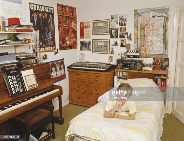 Teenaged Welsh singer Aled Jones at home in his bedroom circa 1986
