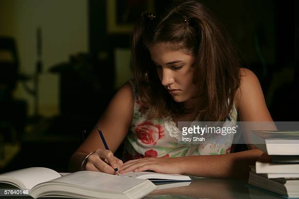 Teenager at study desk