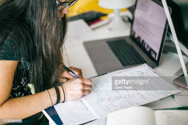 teenager attending online school class at home - distance learning stock pictures, royalty-free photos & images