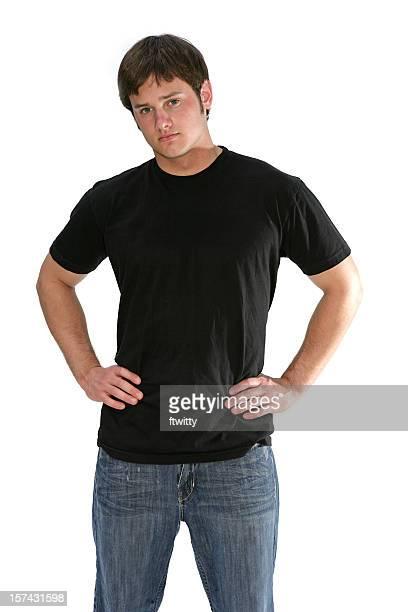 Teenager Black T-shirt Three Quarter Length Vertical