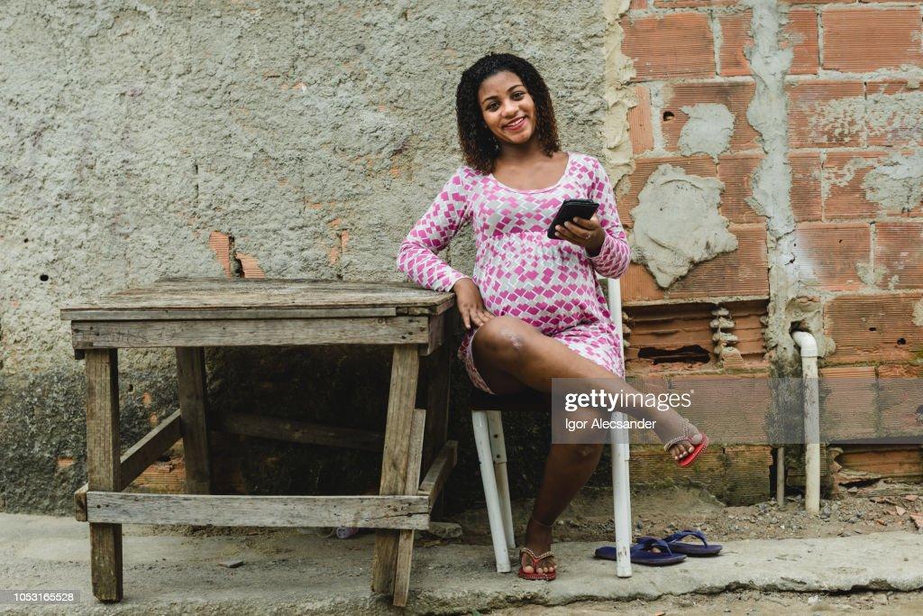 Teenager Brazilian pregnant : Stock Photo