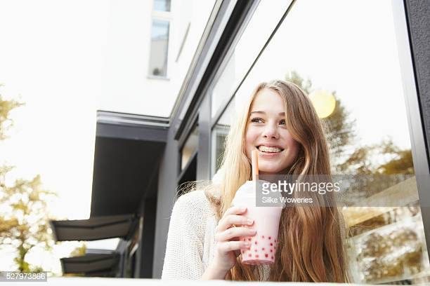 teenager drinking bubble tea