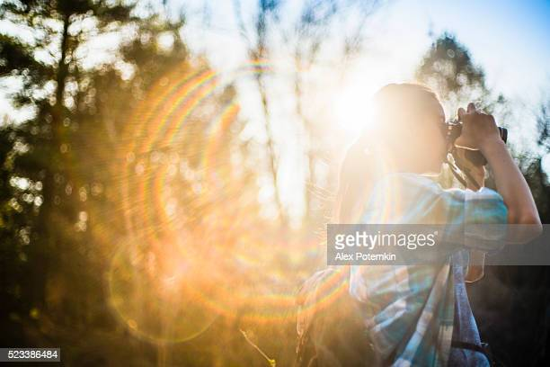 Teenager girl explore nature in Poconos, Pennsylvania