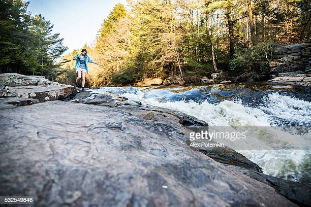 teenager girl explore nature in poconos, pennsylvania - pocono mountains stock pictures, royalty-free photos & images