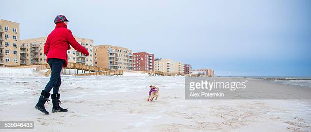 Teenager girl play with a small dog at the beach