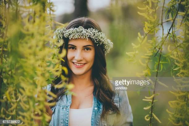 teenager girl springtime